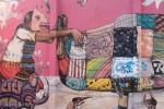 Saner y Sego mural at Museo Nacional de Culturas Populares (left)