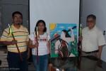 SERMixe's Marcelino Nicolas Sanchez, Gudelia Aguilar Ortiz and organization president Javier Dominguez Faustino